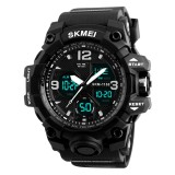 SKMEI 1155B Multifunctional Men Outdoor Sports Noctilucent Waterproof Large Dial Wrist Watch (Black)