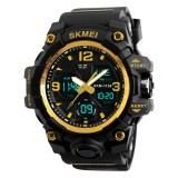SKMEI 1155B Multifunctional Men Outdoor Sports Noctilucent Waterproof Large Dial Wrist Watch (Gold)