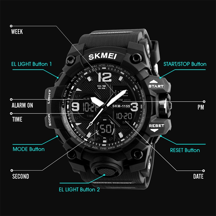 SKMEI 1155B Multifunctional Men Outdoor Sports Noctilucent Waterproof Large Dial Wrist Watch (Denim Blue)