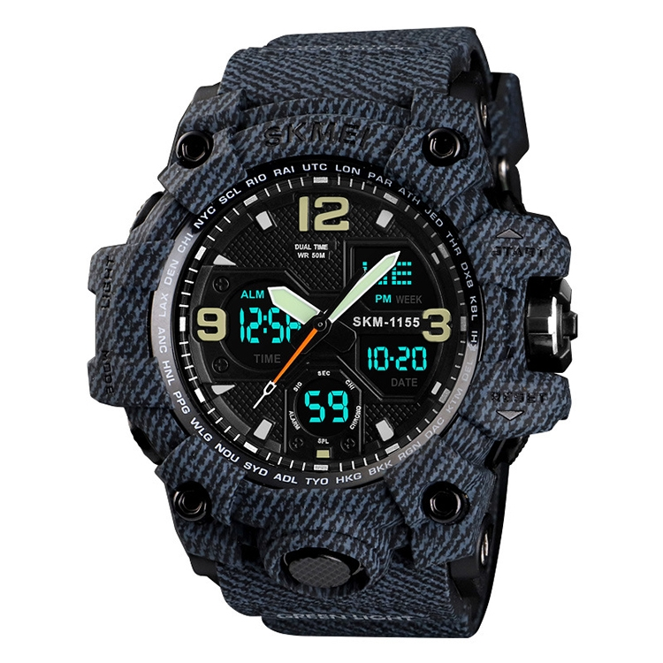 SKMEI 1155B Multifunctional Men Outdoor Sports Noctilucent Waterproof Large Dial Wrist Watch (Denim Black)