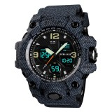 SKMEI 1155B Multifunctional Men Outdoor Sports Noctilucent Waterproof Large Dial Wrist Watch (Denim Black)