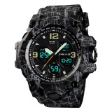 SKMEI 1155B Multifunctional Men Outdoor Sports Noctilucent Waterproof Large Dial Wrist Watch (Grey Black)