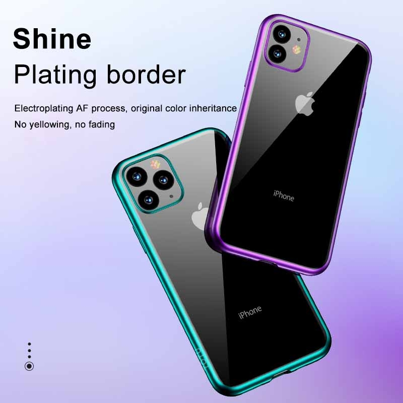 For iPhone 11 Pro Max TOTUDESIGN Concise Series Shockproof Electroplating TPU Protective Case (Black)