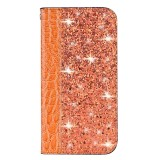For Galaxy A20s Crocodile Texture Glitter Powder Horizontal Flip Leather Case with Card Slots & Holder (Orange)