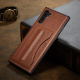 For Galaxy Note10 Fierre Shann Full Coverage Protective Leather Case with Holder & Card Slot (Brown)