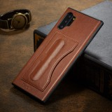 For Galaxy Note10+ Fierre Shann Full Coverage Protective Leather Case with Holder & Card Slot (Brown)