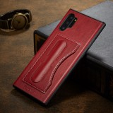 For Galaxy Note10+ Fierre Shann Full Coverage Protective Leather Case with Holder & Card Slot (Red)