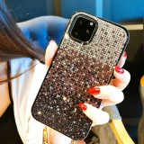For iPhone 11 Pro PC + Crystal Diamond Tri-Color Gradient Protective Case (Gradient Purple)