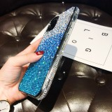 For iPhone 11 Pro PC + Crystal Diamond Tri-Color Gradient Protective Case (Gradient Blue)