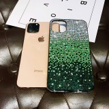 For iPhone 11 PC + Crystal Diamond Tri-Color Gradient Protective Case (Gradient Green)