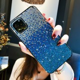 For iPhone 11 PC + Crystal Diamond Tri-Color Gradient Protective Case (Gradient Blue)