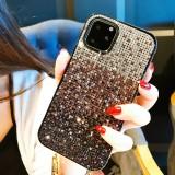 For iPhone 11 Pro Max PC + Crystal Diamond Tri-Color Gradient Protective Case (Gradient Purple)