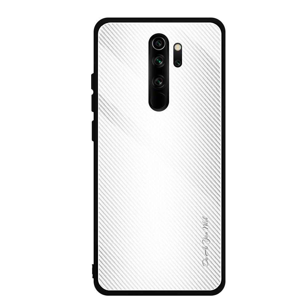 For Xiaomi Redmi Note 8 Pro Carbon Fiber Texture Gradient Color Glass Case White Alexnld Com