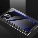 For iPhone 11 Pro Carbon Fiber Texture Gradient Color Glass Case (Purple)