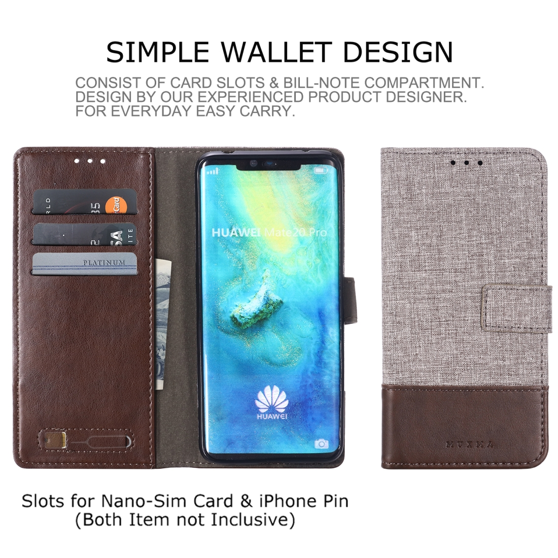 For Huawei Mate 20 Pro MUXMA MX102 Horizontal Flip Canvas Leather Case with Stand & Card Slot & Wallet Function (Brown)