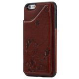 For iPhone 6 Plus Cat Bee Embossing Pattern Shockproof Protective Case with Card Slots & Photo Frame (Brown)