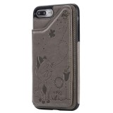 For iPhone 8 Plus / 7 Plus Cat Bee Embossing Pattern Shockproof Protective Case with Card Slots & Photo Frame (Grey)