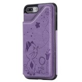 For iPhone 8 Plus / 7 Plus Cat Bee Embossing Pattern Shockproof Protective Case with Card Slots & Photo Frame (Purple)