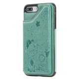 For iPhone 8 Plus / 7 Plus Cat Bee Embossing Pattern Shockproof Protective Case with Card Slots & Photo Frame (Green)