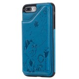 For iPhone 8 Plus / 7 Plus Cat Bee Embossing Pattern Shockproof Protective Case with Card Slots & Photo Frame (Blue)