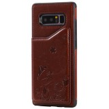 For Galaxy Note 8 Cat Bee Embossing Pattern Shockproof Protective Case with Card Slots & Photo Frame (Brown)