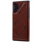 For Galaxy Note 10 Plus Cat Bee Embossing Pattern Shockproof Protective Case with Card Slots & Photo Frame (Brown)