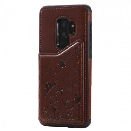 For Galaxy S9 Plus Cat Bee Embossing Pattern Shockproof Protective Case with Card Slots & Photo Frame (Brown)