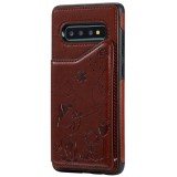 For Galaxy S10 Plus Cat Bee Embossing Pattern Shockproof Protective Case with Card Slots & Photo Frame (Brown)