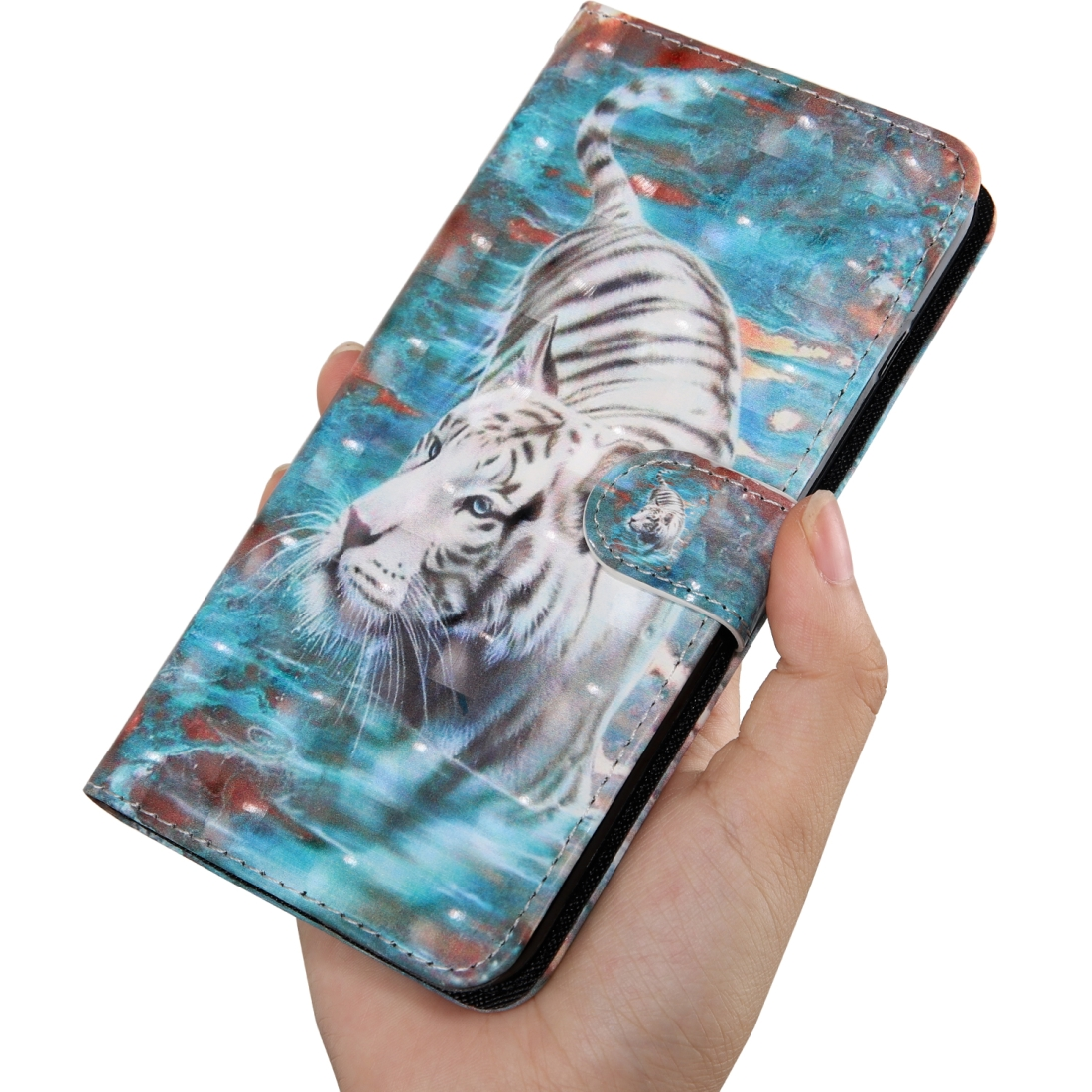 For OnePlus 7 Pro / 7T Pro 3D Painting Pattern Coloured Drawing Horizontal Flip TPU + PU Leather Case with Holder & Card Slots & Wallet (Tiger)