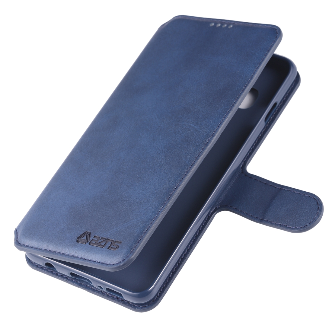 For Galaxy S10 AZNS Calf Texture Magnetic Horizontal Flip PU Leather Case with Holder & Card Slots & Photo Frame (Blue)
