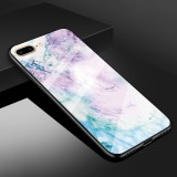 For iPhone 8 Plus & 7 Plus Marble Pattern Glass Protective Case (Ink Pink)