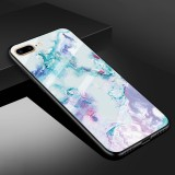 For iPhone 8 Plus & 7 Plus Marble Pattern Glass Protective Case (Ink Purple)