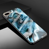 For iPhone 8 Plus & 7 Plus Marble Pattern Glass Protective Case (Ink Blue)