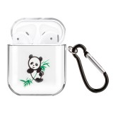 For AirPods 1 / 2 High Transparent TPU Colorful Painting Earphone Protective Case with HookFor AirPods 1 / 2 High Transparent TPU Colorful Painting Earphone Protective Case with Hook (Bamboo Panda)