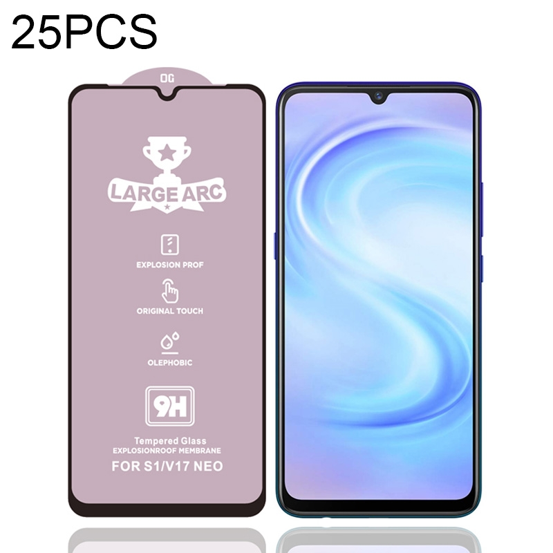For Vivo S1 25 PCS 9H HD Large Arc High Alumina Full Screen Tempered Glass Film