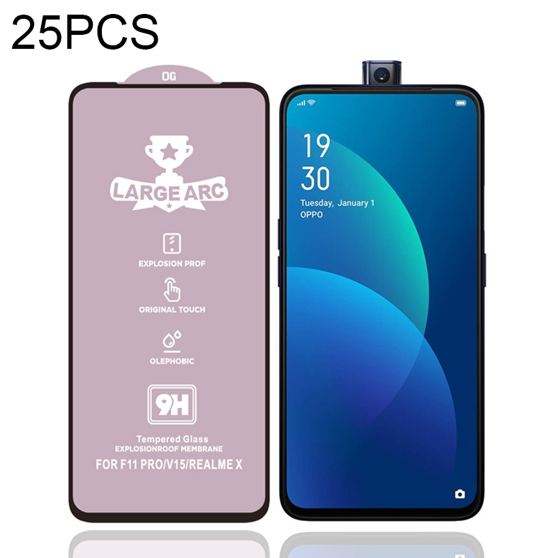 For Vivo V15 25 PCS 9H HD Large Arc High Alumina Full Screen Tempered Glass Film