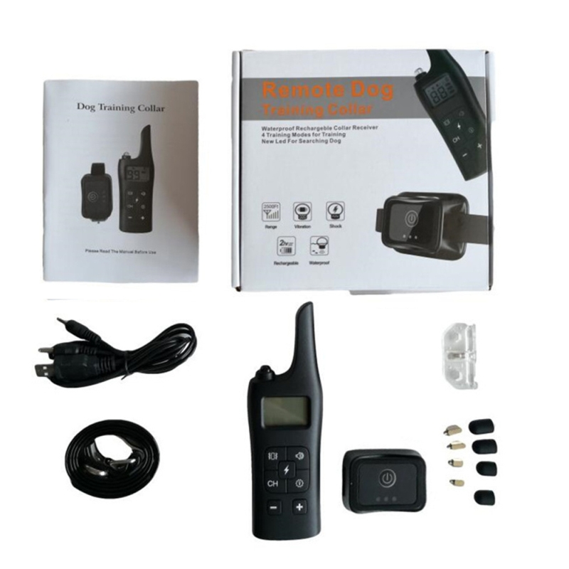 885-1 Rechargeable Training Dogs Stop Barkin Remote Control with Collar Receiver, Support Electric Shock & Vibration & Light & Sound Mode, US Plug