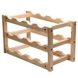 Solid Wood Folding 12-bottle Wine Display Rack Multi-layer Wine Rack, Size: 46x24x28cm