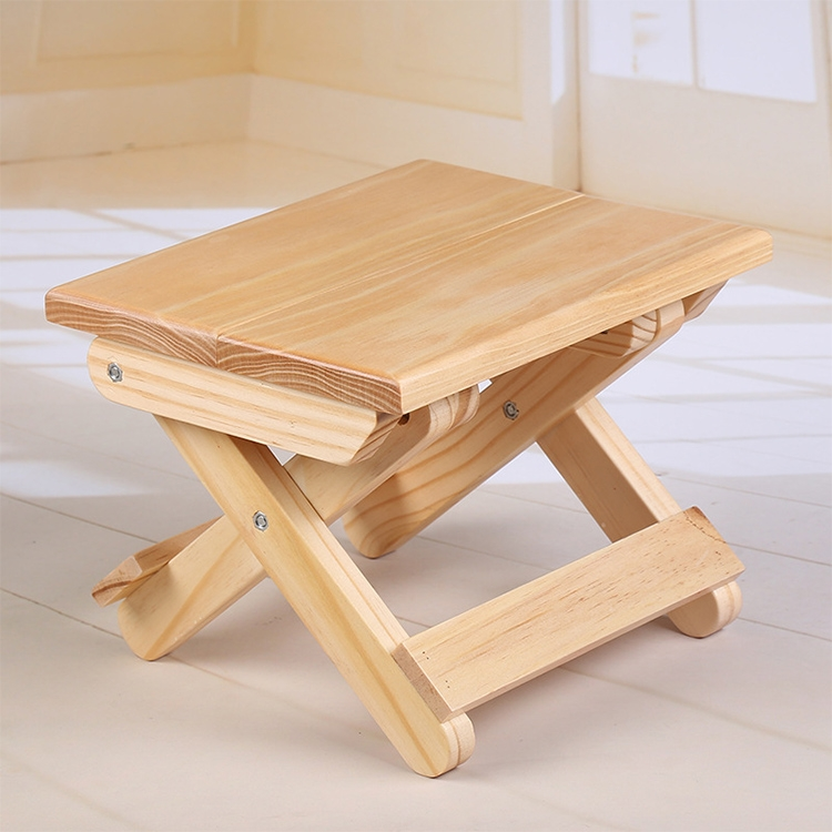 Pine Folding Square Bench Portable Home Outdoor Fishing Chair Bench,Size: 19x24x17.8cm