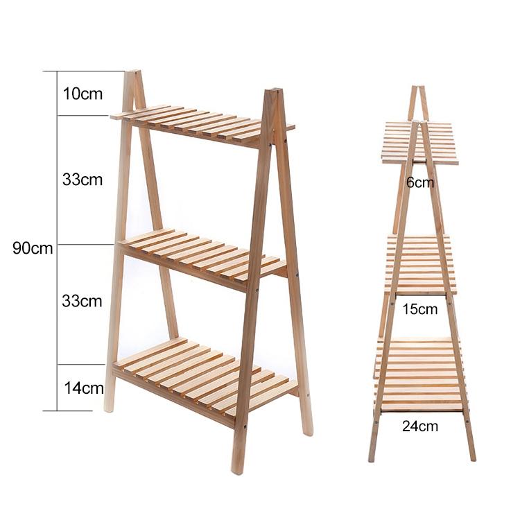 Solid Wood Folding Multi-layer Flower Plate Storage Shelves Shoe Rack, Size: 90x50x30cm (Wood)