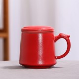 Coarse Pottery Large Capacity Mug Water Cup Travel Tea Set, with Filter & Cover & Handy Bag (Red)