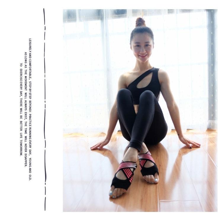 1 Pair Anti-Slip Yoga Socks Toeless Pilates Socks Ballet Yoga Pilates Barre Shoes for Women, 245-250mm (Pink)