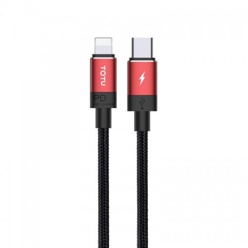 TOTUDESIGN Speedy Series BPD-001 PD USB-C / Type-C to 8 Pin Interface Fast Charge Data Sync Data Cable, Cable Length: 1.2m (Red)