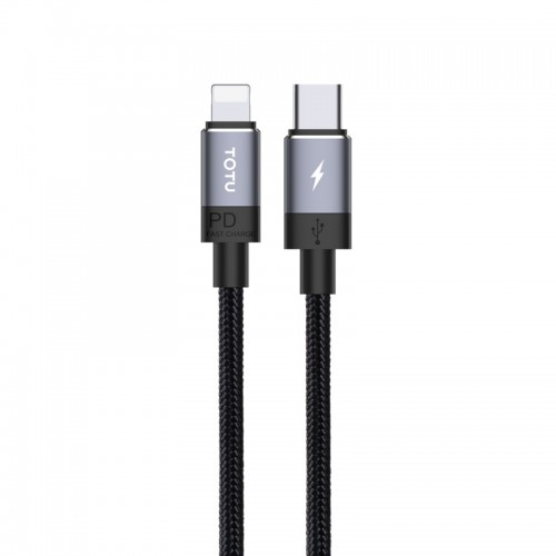 TOTUDESIGN Speedy Series BPD-001 PD USB-C / Type-C to 8 Pin Interface Fast Charge Data Sync Data Cable, Cable Length: 2m (Grey)