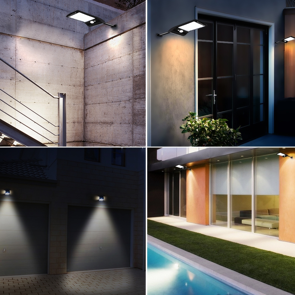 6W 800LM 48 LEDs Solar Remote Control Flat Lamp with Bracket