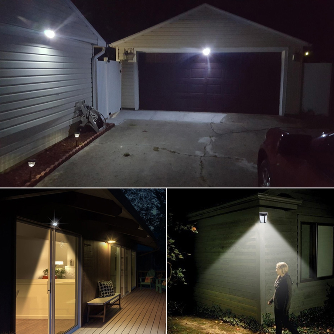 6 LEDs Light Control IP65 Waterproof Warm White Light + Colorful Changing Solar Powered LED Wall Lamp