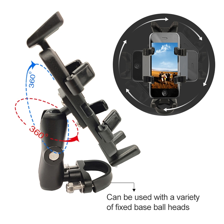 Universal Crook Shaped Ball Head Motorcycle Rearview Mirror Multi-function Mobile Phone Holder, Suitable for Mobile Phone Width: 5.5-9.5cm
