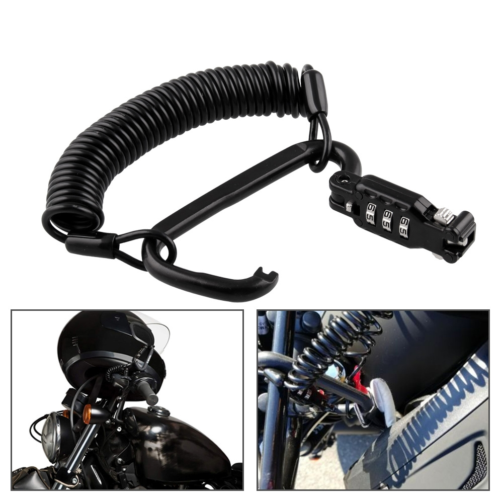 MB-HL019-BK Motorcycle Helmet Lock with 3-digit Combination Password and Retractable Cable (Black)