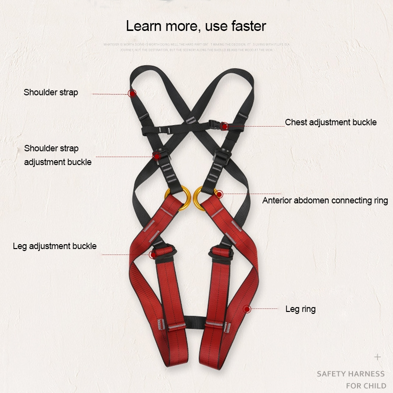 XINDA XDA9516 Outdoor Rock Climbing Polyester High-strength Wire Adjustable Downhill Whole Body Safety Belt Children Size: S