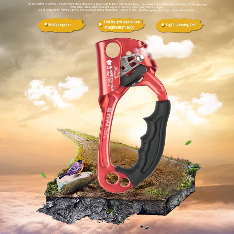 XINDA TP-8606 Outdoor Rock Climbing Aerial Work Anti-fall Handheld Rope Gripper for 8-12mm Diameter Rope Right (Orange)